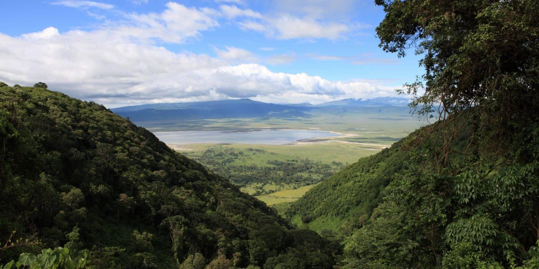 safari Tanzania och utsikt från kanten ner i Ngorongorokratern